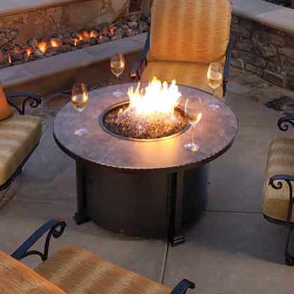 """Santorini Round Chat Height Gas Fire Pit Table - 42"""" image number 0"""