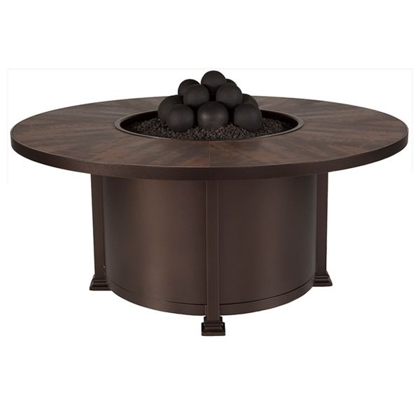 "Santorini Round Chat Height Gas Fire Pit Table - 54"" image number 1"