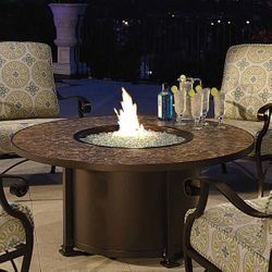 """Santorini Round Chat Height Gas Fire Pit Table - 54"""""""
