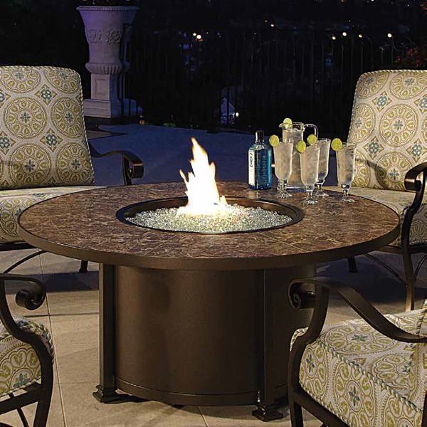 "Santorini Round Chat Height Gas Fire Pit Table - 54"" image number 0"