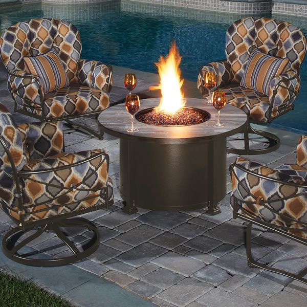 """Santorini Round Chat Height Gas Fire Pit Table - 30"""" image number 1"""