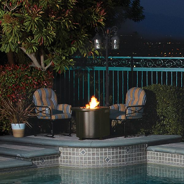 """Santorini Round Chat Height Gas Fire Pit Table - 30"""" image number 2"""