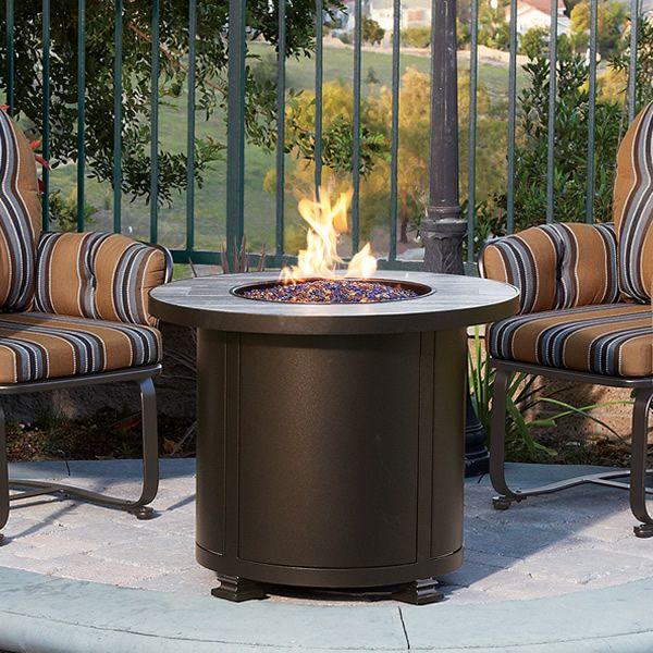 """Santorini Round Chat Height Gas Fire Pit Table - 30"""" image number 3"""