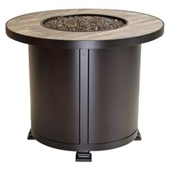 """Santorini Round Chat Height Gas Fire Pit Table - 30"""""""