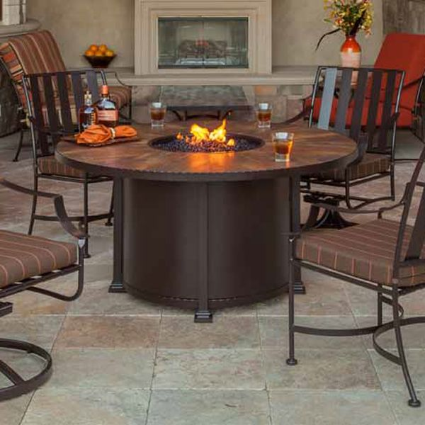 """Santorini Round Dining Height Gas Fire Pit Table - 54"""" image number 0"""