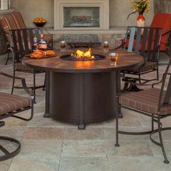 """Santorini Round Dining Height Gas Fire Pit Table - 54"""""""