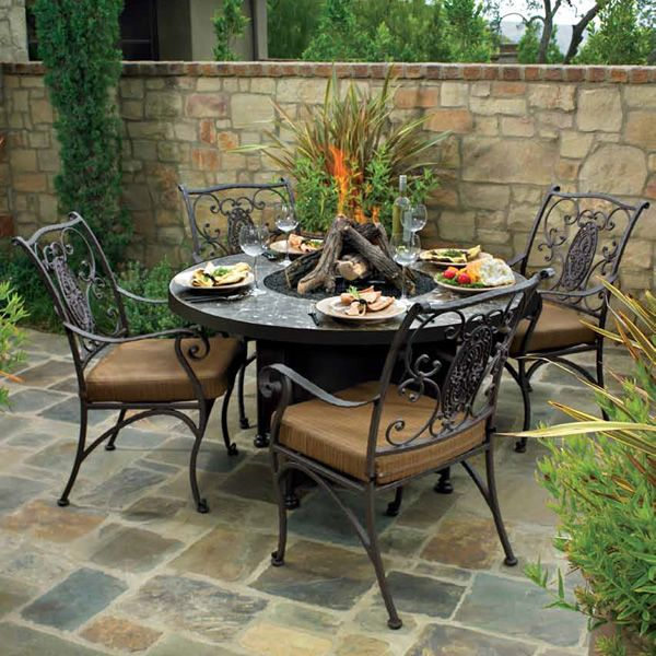 """Santorini Round Dining Height Gas Fire Pit Table - 54"""" image number 1"""