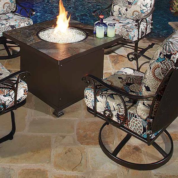 """Santorini Square Chat Height Gas Fire Pit Table - 36"""" image number 1"""