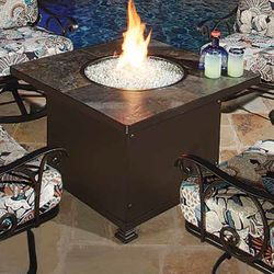 """Santorini Square Chat Height Gas Fire Pit Table - 36"""""""