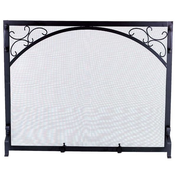 "Scroll Corners Black Wrought Iron Single Panel Screen - 39"" x 31"" image number 0"