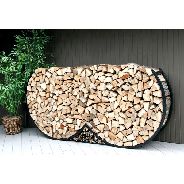 Shelter It Double Round Firewood Rack w/Kindling Holder & Cover - 8' image number 0