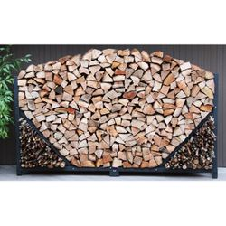 8ft Firewood Storage Rack with Kindling Holder and Cover