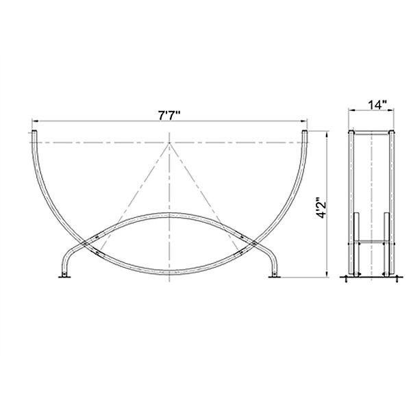 Shelter It Semicircle Firewood Rack w/Kindling Holder & Cover - 8' image number 1