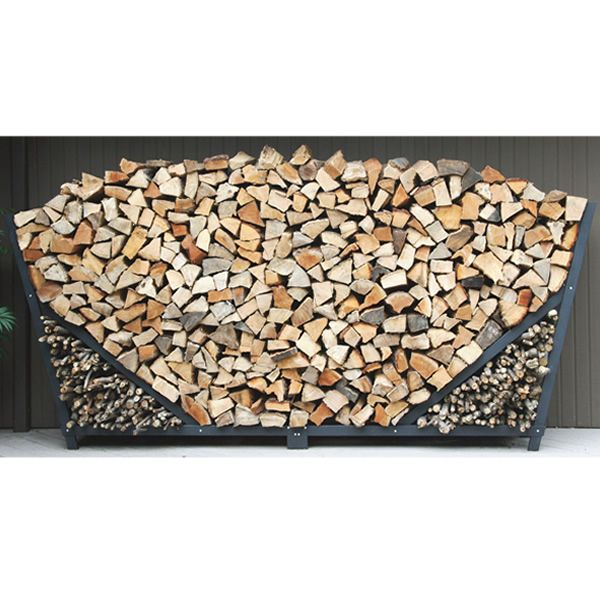 Shelter It Slanted Firewood Storage Rack w/ Kindling Holder & Cover - 8' image number 0