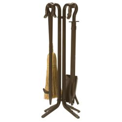 Short Hooked Bronze Wrought Iron 4 Piece Tool Set