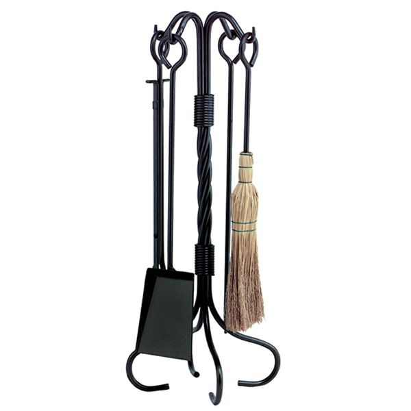 Short Twisted Wrought Iron 4 Piece Tool Set - Black image number 0