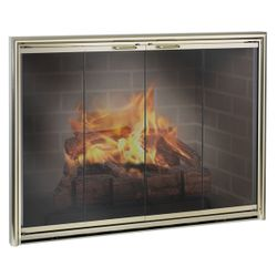 Silhouette Masonry Fireplace Glass Door