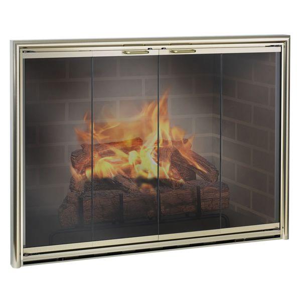Silhouette Masonry Fireplace Glass Door image number 0