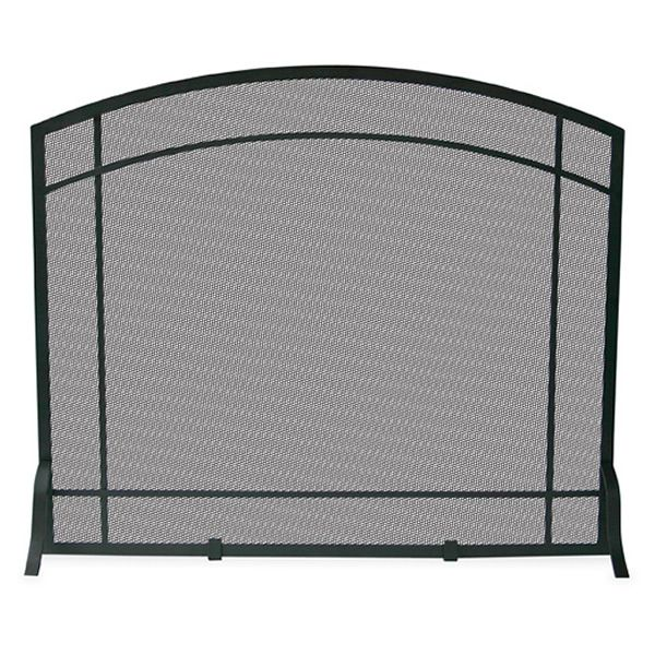 "Single Panel Black Iron Fireplace Screen with Mission Design - 39"" x 33"" image number 0"