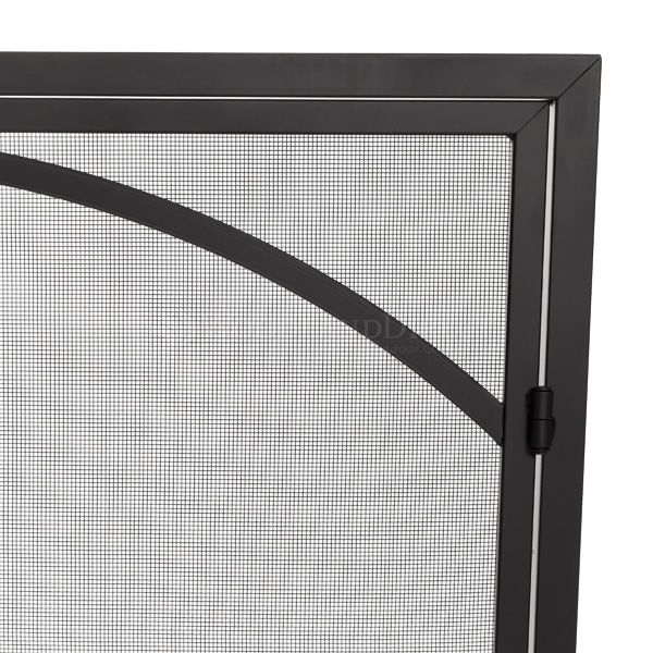 "Adams Single-Panel Contemporary Arched Black Door Screen - 39""X31"" image number 1"