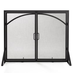 "Single-Panel Contemporary Arched Black Door Screen 39""X31"""