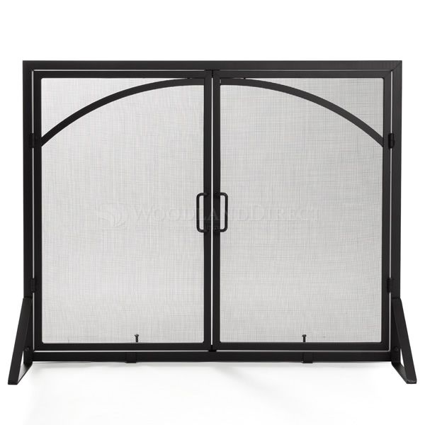 "Adams Single-Panel Contemporary Arched Black Door Screen - 39""X31"" image number 0"