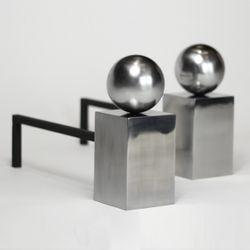 Spherical Steel Andirons
