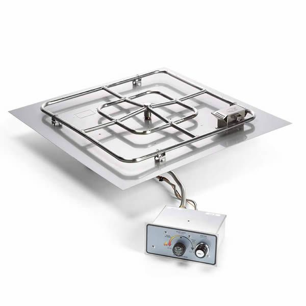 """Square Flat Pan Gas Fire Pit System with Manual Ignition - 24""""x24"""" image number 0"""