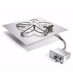 "Square Flat Pan Gas Fire Pit System with Manual Ignition - 30""x30"""