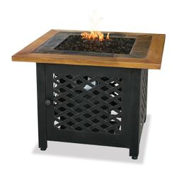 Uniflame Square Propane Fire Pit with Slate/Faux Wood Mantel