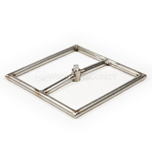 "Square Single Stainless Steel Gas Fire Pit Burner - 12"" image number 0"