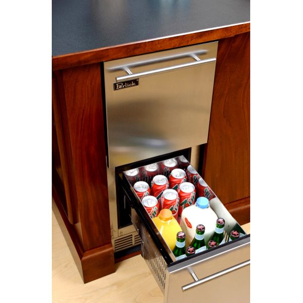 "Stainless Refrigerator with Stainless Steel Drawers - 15"" image number 1"