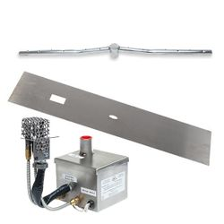 "Stainless Steel AWEIS Linear Flat Fire Pit Burner System - 96"" x 6"""