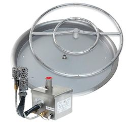 Stainless Steel AWEIS Round Drop In Fire Pit Burner System - 31""
