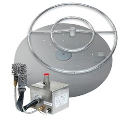 Stainless Steel AWEIS Round Flat Fire Pit Burner System - 24""