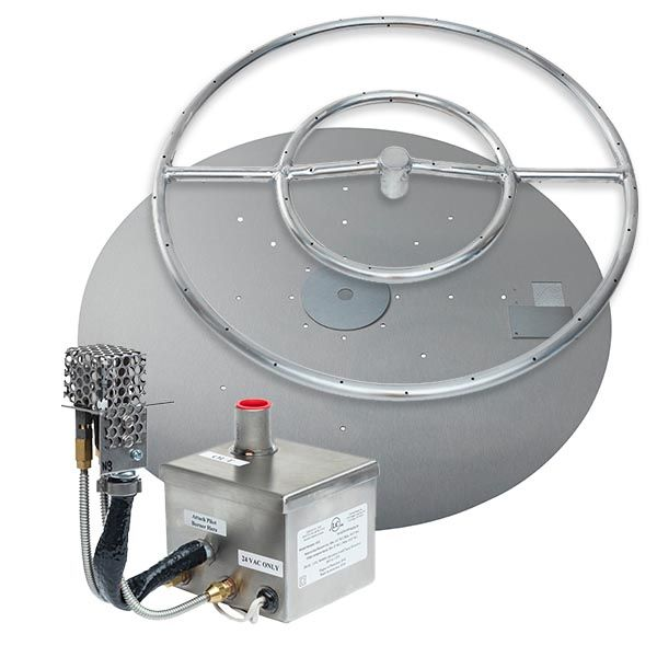 "Stainless Steel AWEIS Round Flat Fire Pit Burner System - 30"" image number 0"