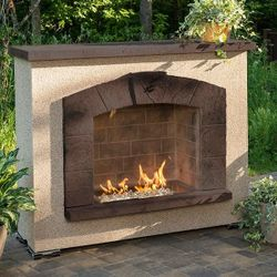 Stone Arch Gas Outdoor Fireplace