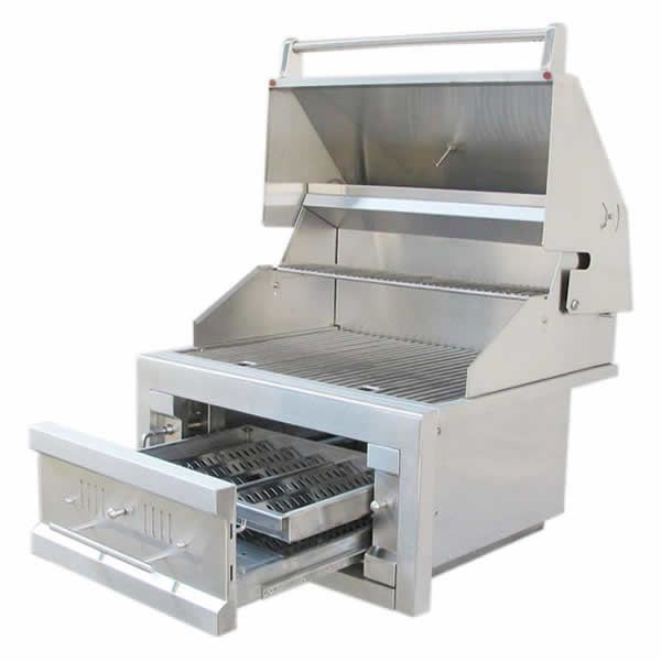 """Sunstone Dual Zone 304 Stainless Steel Charcoal Grill - 28"""" image number 0"""