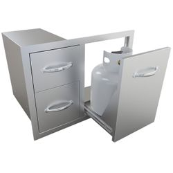 """Sunstone Tank Tray with Double Drawer Combo - 30"""""""