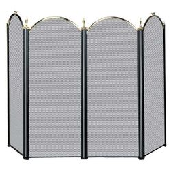 Polished Brass & Black 4-Panel Fireplace Screen
