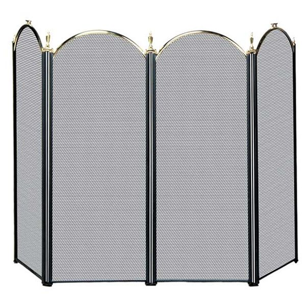 "Polished Brass & Black 4-Panel Fireplace Screen - 52"" image number 0"