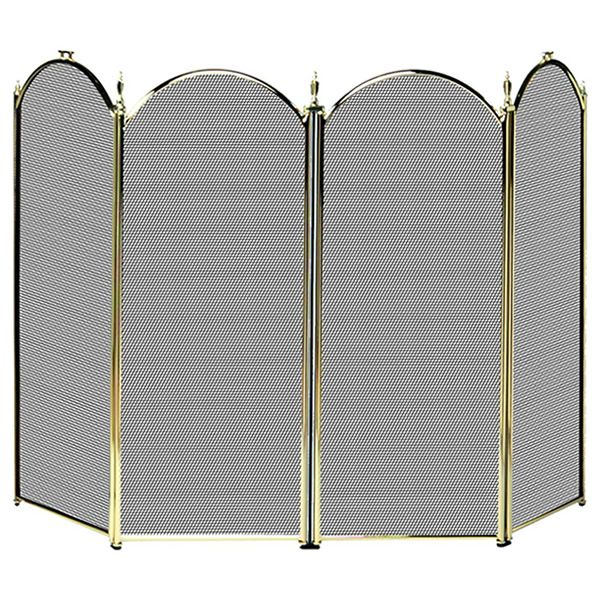 "Polished Brass 4-Panel Fireplace Screen - 52"" image number 0"