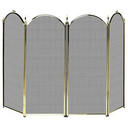 Polished Brass 4-Panel Fireplace Screen