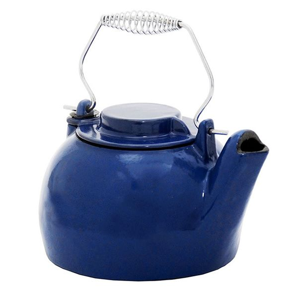 Porcelain Enamel Wood Stove Kettle - Blue image number 0