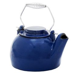 Porcelain Enamel Blue Wood Stove Kettle