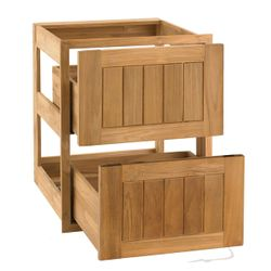 """Pacific Teak Cottage Panel Double Drawer - 18"""""""