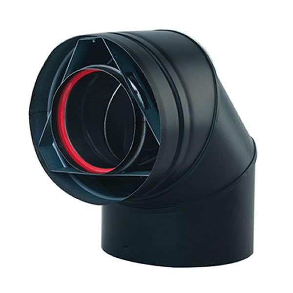 "Painted Black 45 Degree Direct Vent Pipe Elbow - 5"" Dia image number 0"