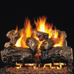 Real Fyre Burnt Rustic Oak Outdoor Vented Gas Log Set