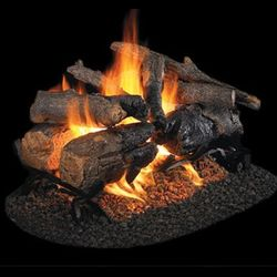 Peterson Real Fyre Charred American Oak See Through Vented Gas Log Set