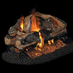 Peterson Real Fyre Charred Rugged Split Oak See Through Vented Log Set